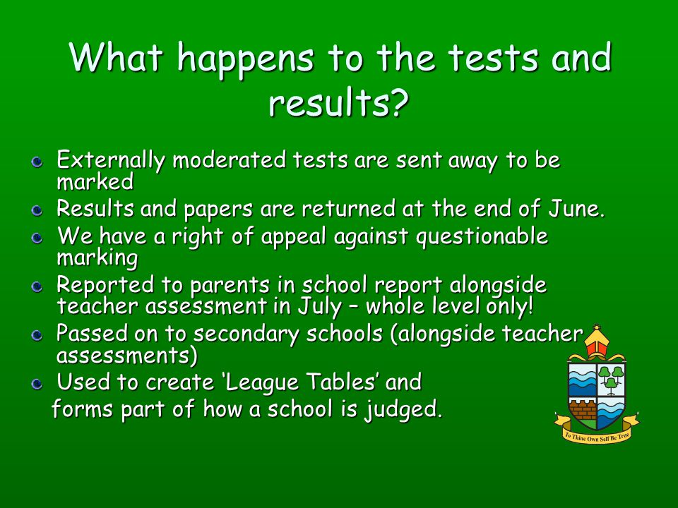 What happens to the tests and results