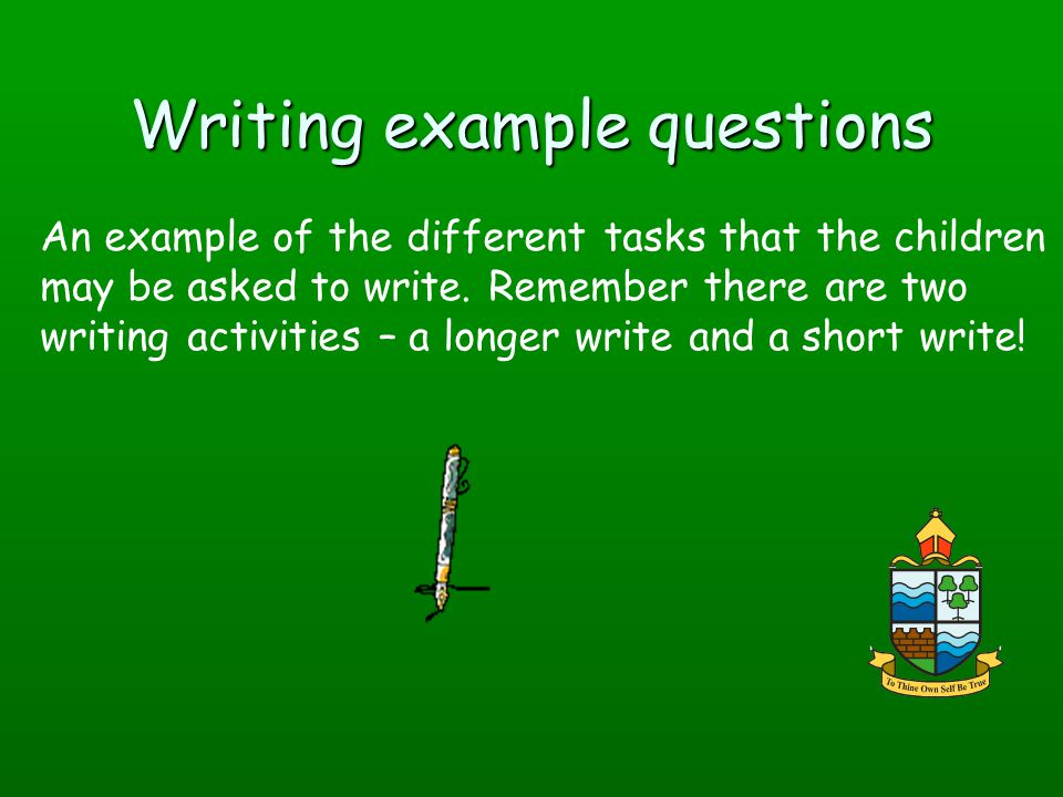 Writing example questions