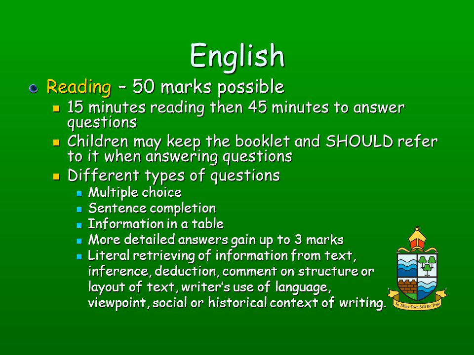 English Reading – 50 marks possible