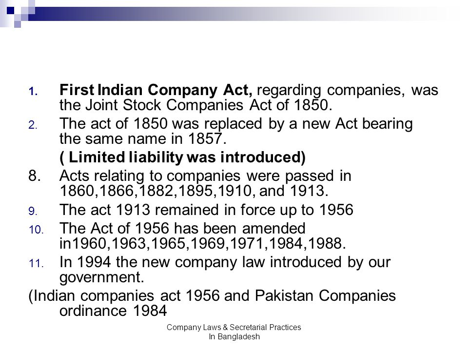 Mst 315 Company Laws Secretarial Practices In Bangladesh Ppt