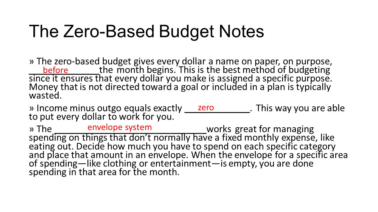 Budget Notes Example