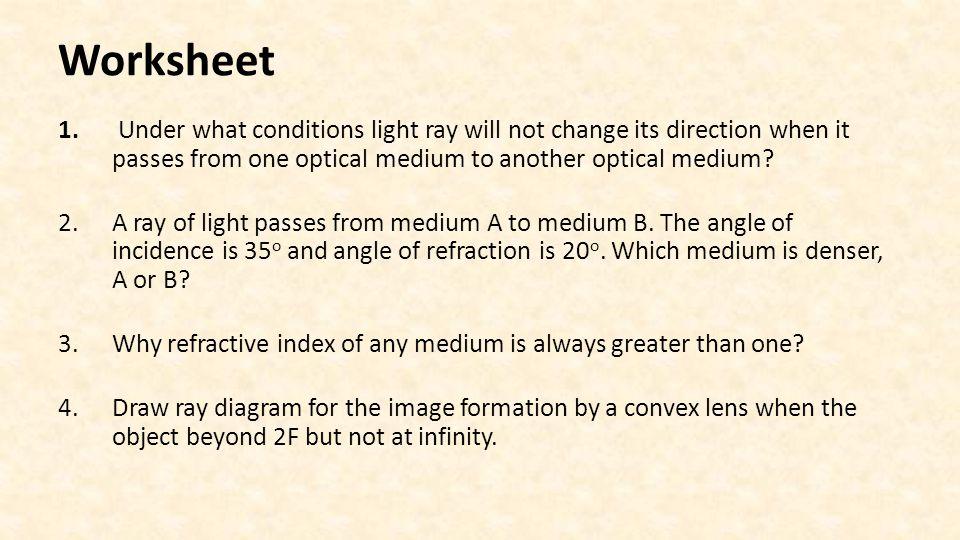 Refraction Dispersion And Image Formation Via Lenses Worksheet