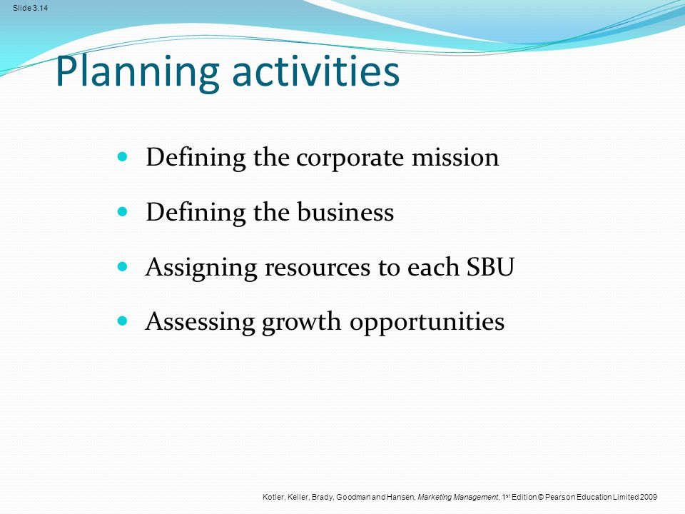 Planning activities Defining the corporate mission