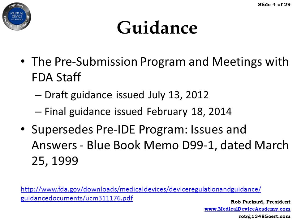 FDA Pre-Submission Meetings for 510(k) Submissions - ppt