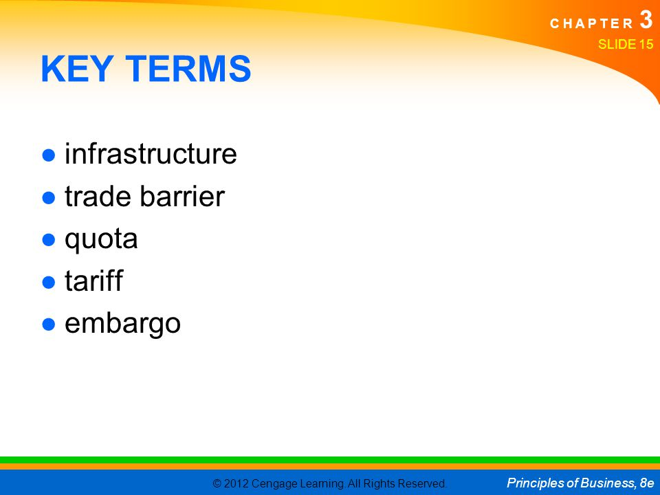 KEY TERMS infrastructure trade barrier quota tariff embargo