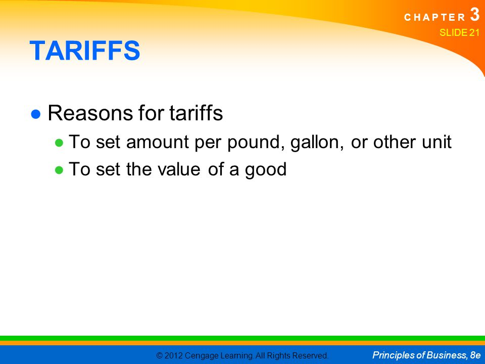 TARIFFS Reasons for tariffs