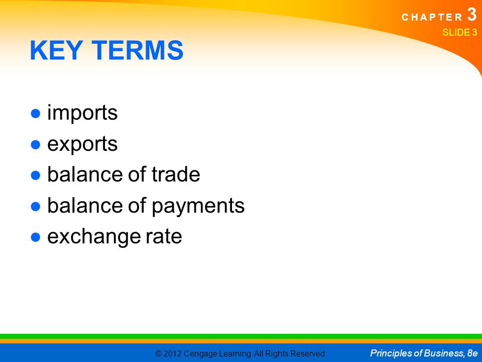 KEY TERMS imports exports balance of trade balance of payments