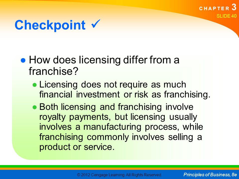 Checkpoint  How does licensing differ from a franchise