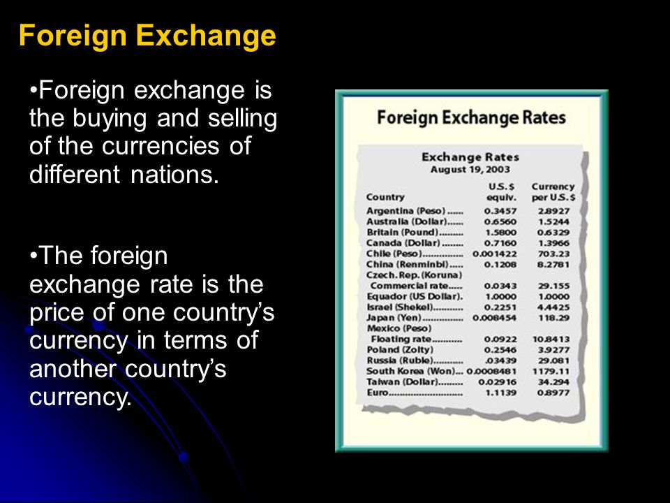 Foreign Exchange Foreign exchange is the buying and selling of the currencies of different nations.