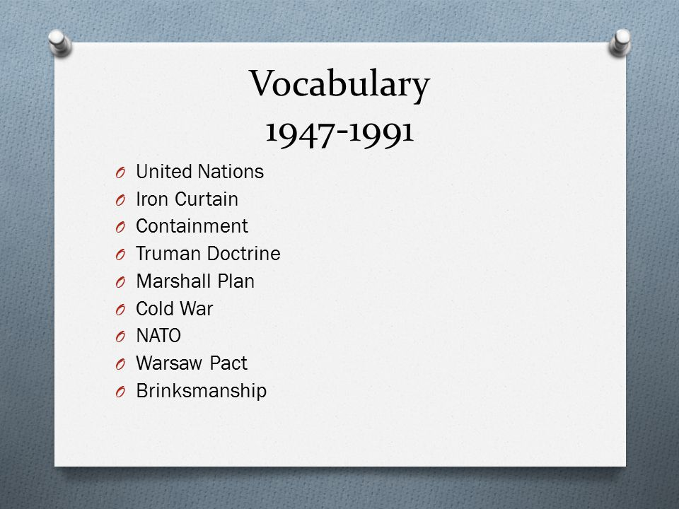 Vocabulary United Nations Iron Curtain Containment