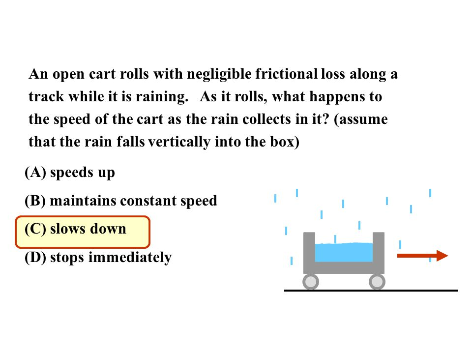 Ap physics review ch 7 impulse and momentum ppt video online an open cart rolls with negligible frictional loss along a track while it is raining ccuart Gallery