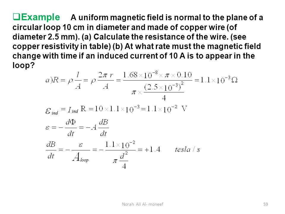 The resistance of a wire of uniform wire center chapter 31 faraday s law 31 1 faraday s law of induction ppt download rh slideplayer com the resistance of a wire of uniform diameter d and length l is r greentooth Image collections
