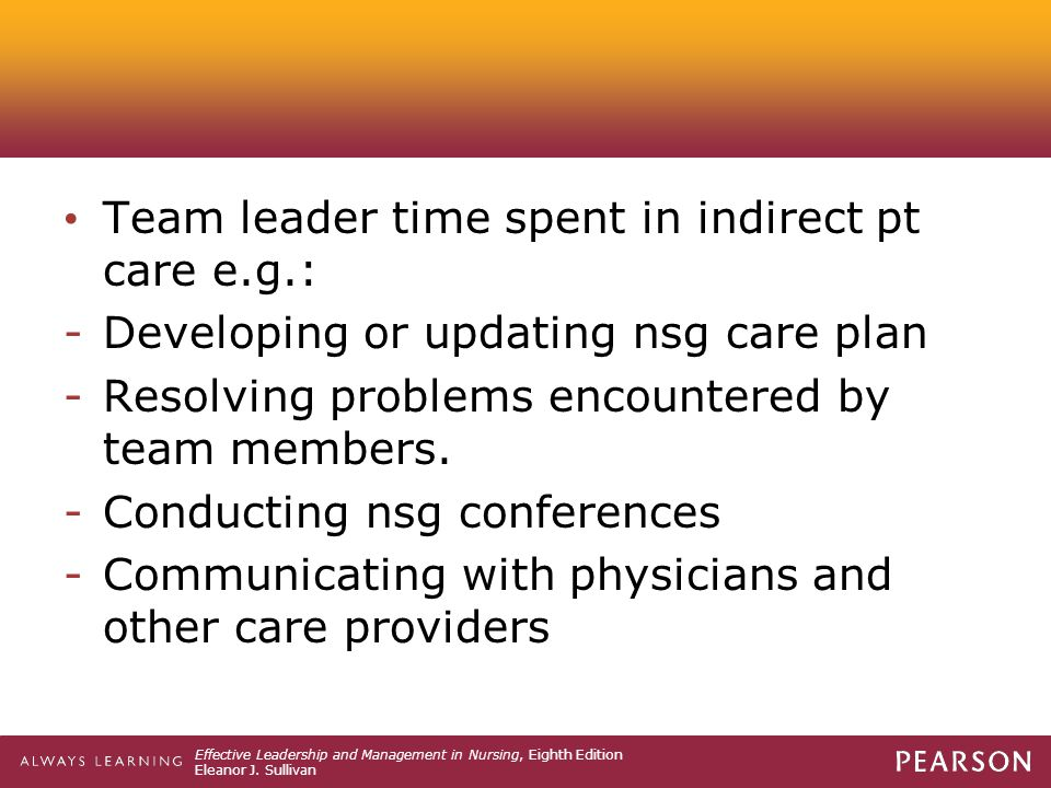 Team leader time spent in indirect pt care e.g.: