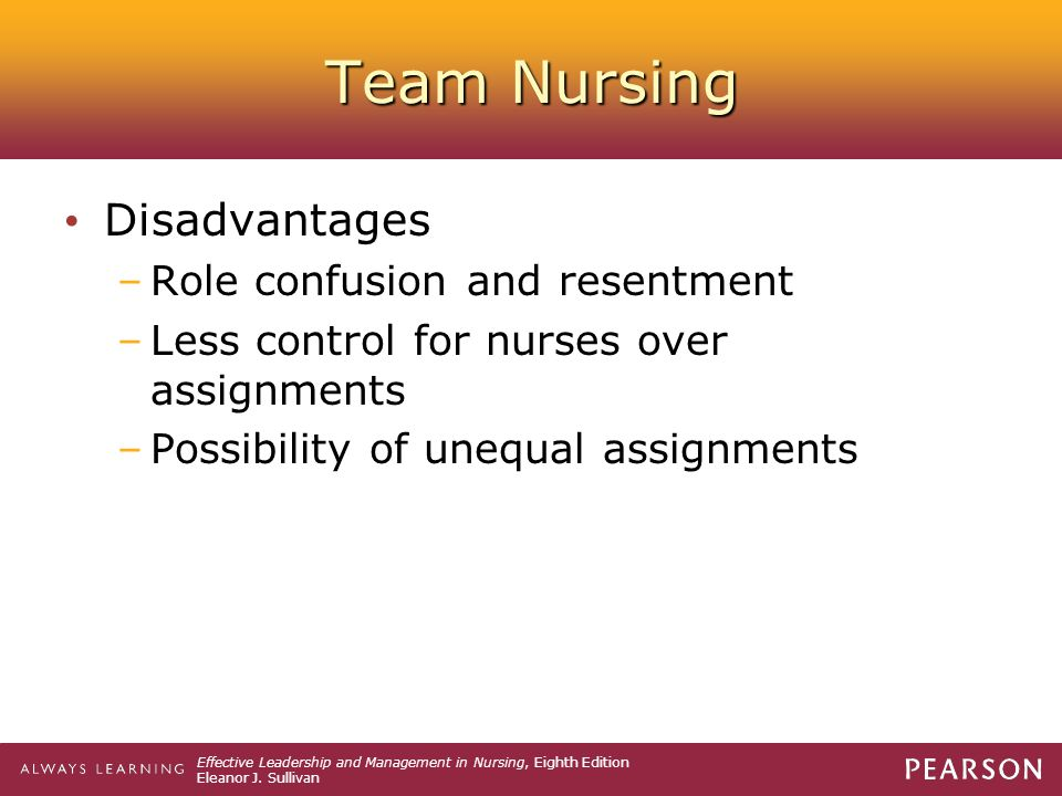 Team Nursing Disadvantages Role confusion and resentment