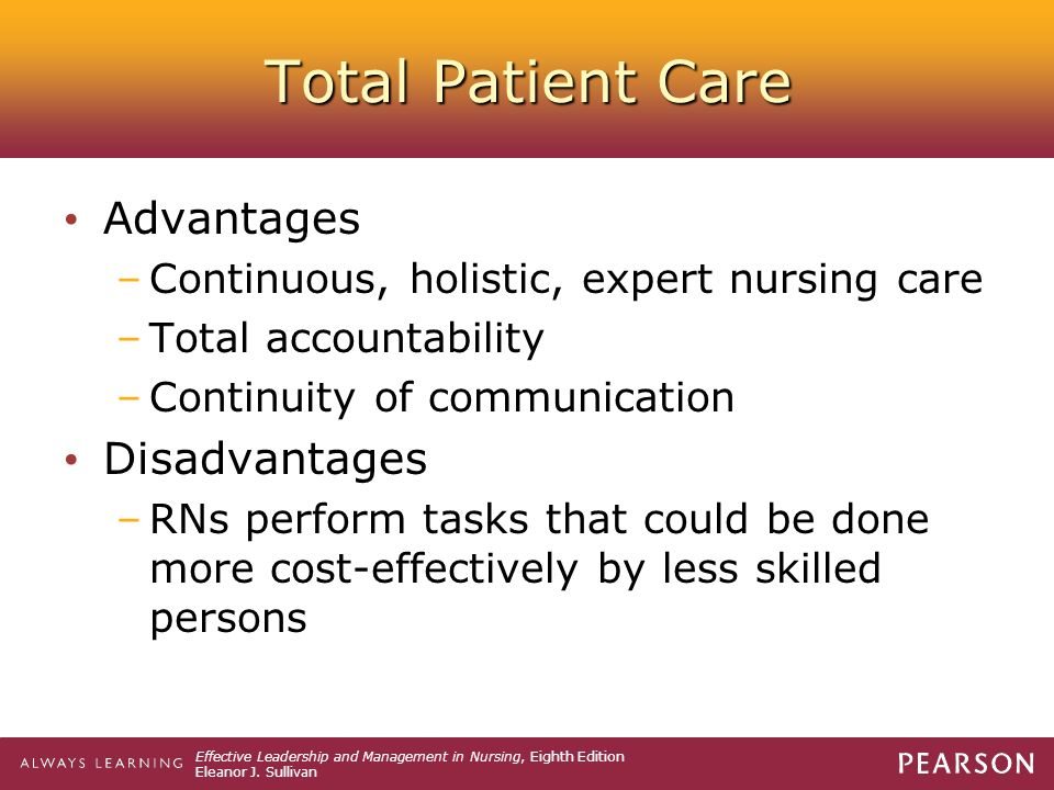 Total Patient Care Advantages Disadvantages