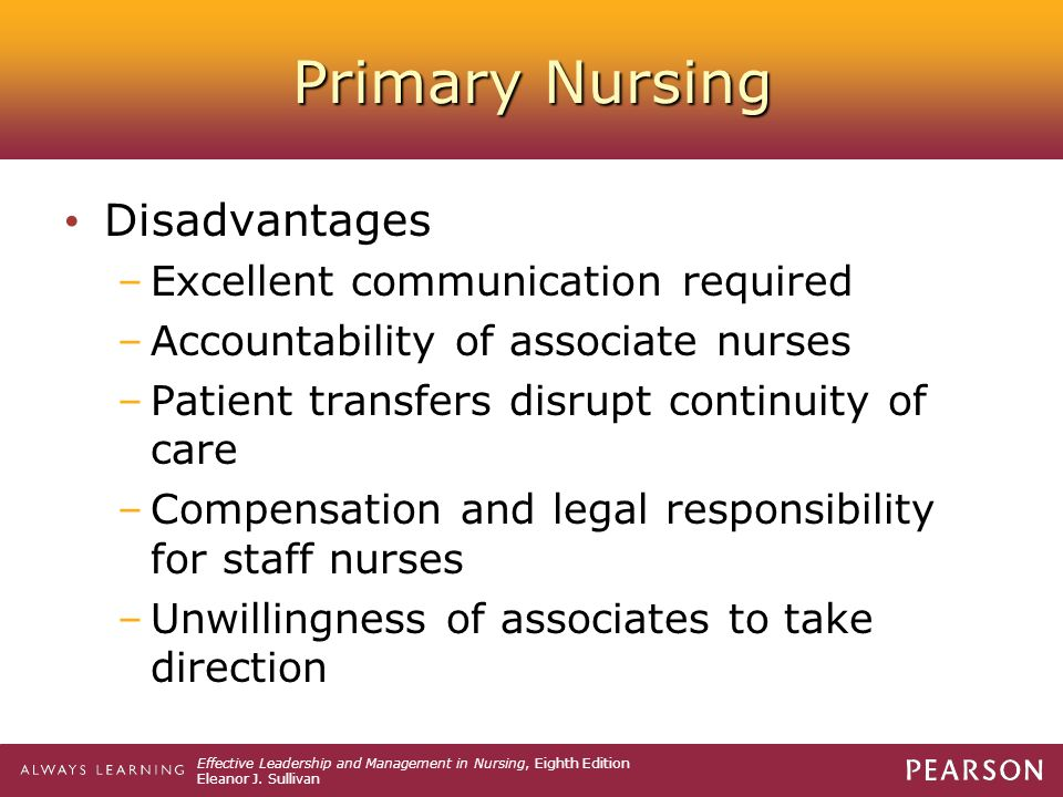 Primary Nursing Disadvantages Excellent communication required