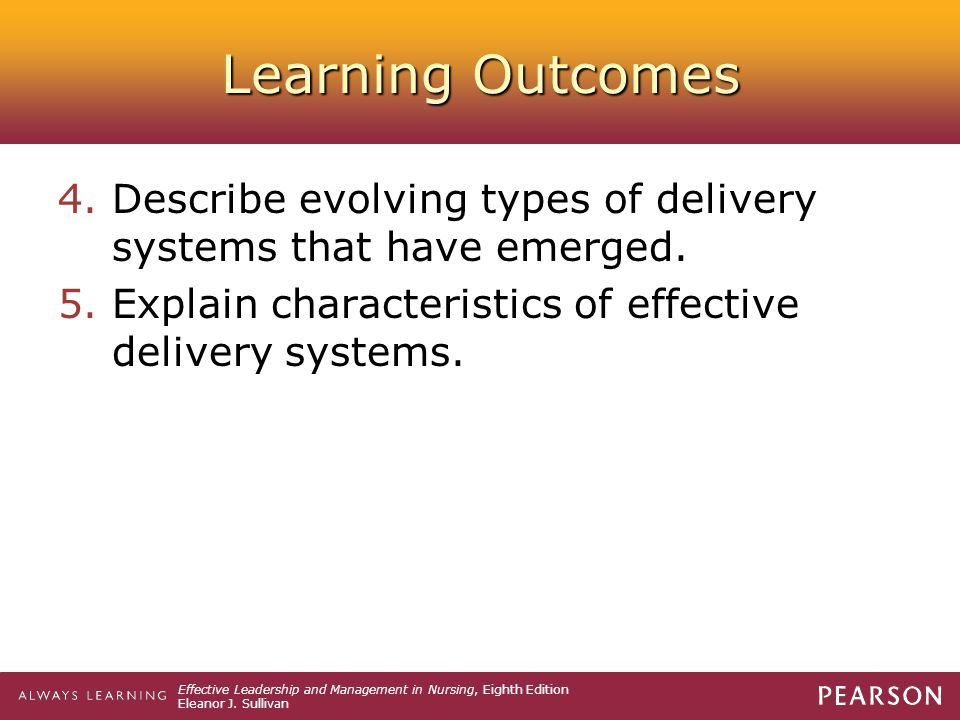 Learning Outcomes Describe evolving types of delivery systems that have emerged.