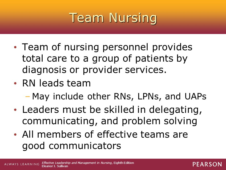 Team Nursing Team of nursing personnel provides total care to a group of patients by diagnosis or provider services.
