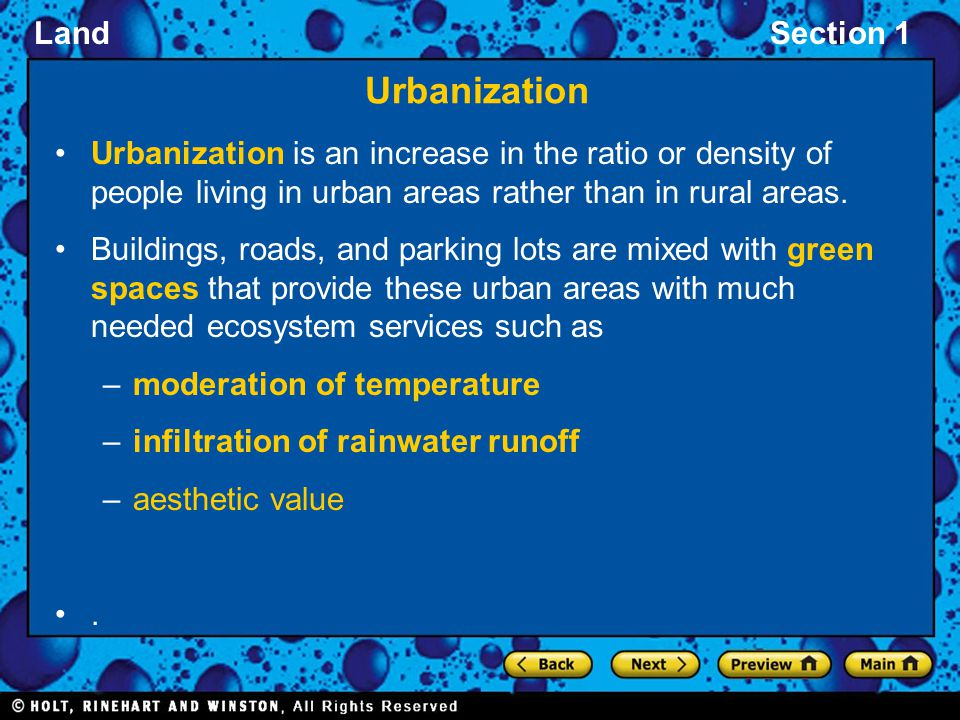 Urbanization Urbanization is an increase in the ratio or density of people living in urban areas rather than in rural areas.