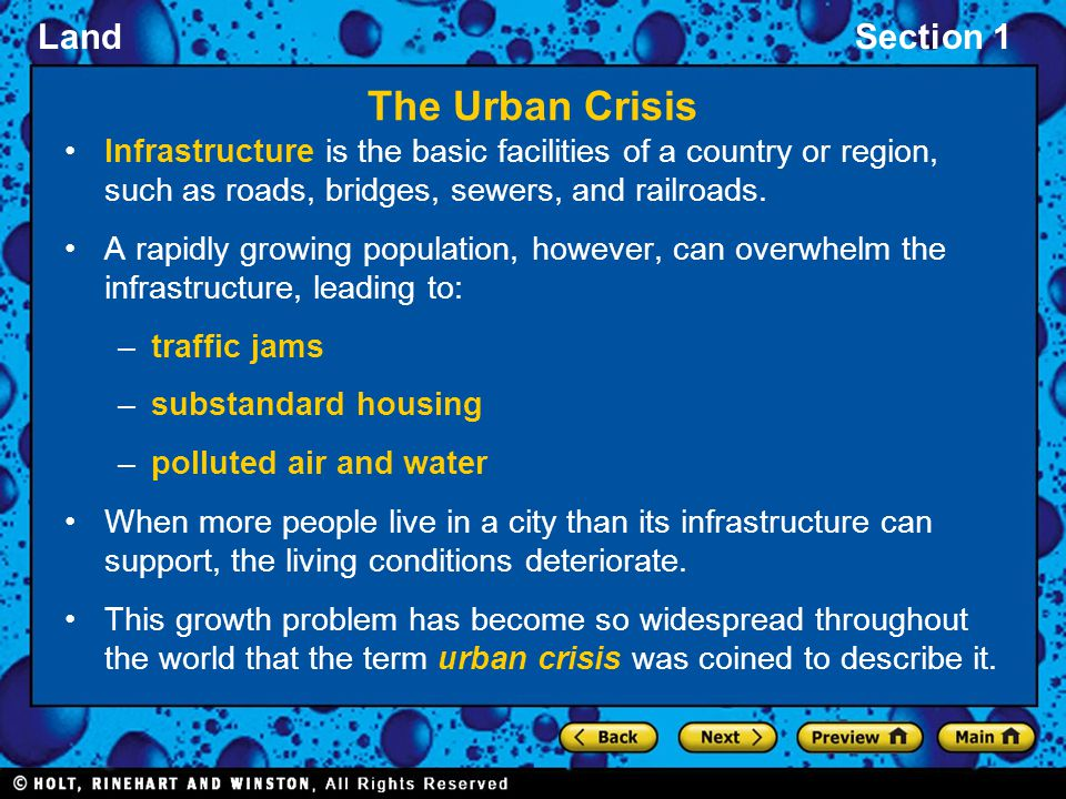 The Urban Crisis Infrastructure is the basic facilities of a country or region, such as roads, bridges, sewers, and railroads.