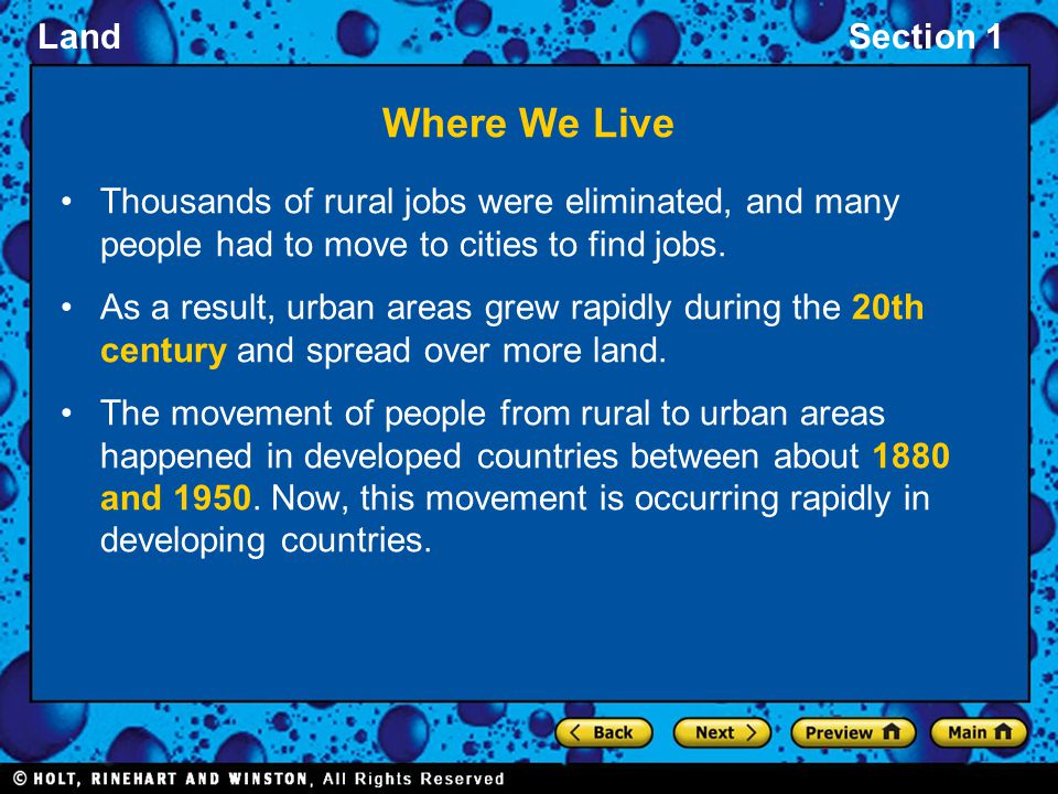 Where We Live Thousands of rural jobs were eliminated, and many people had to move to cities to find jobs.