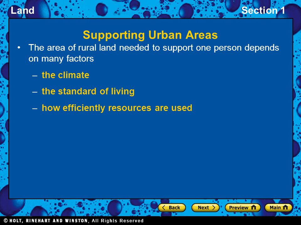 Supporting Urban Areas