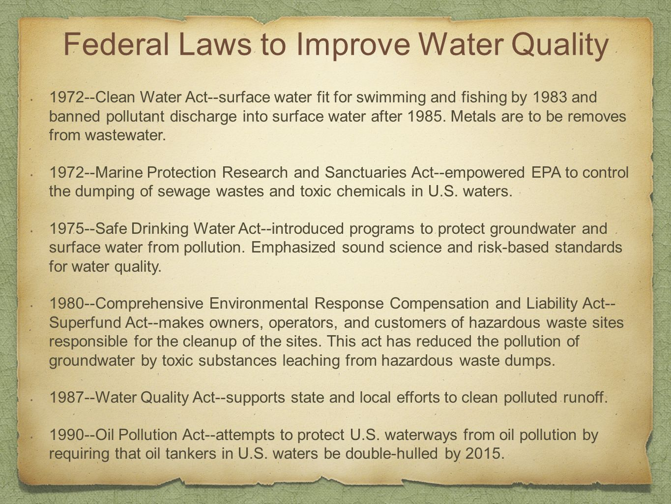 Federal Laws to Improve Water Quality