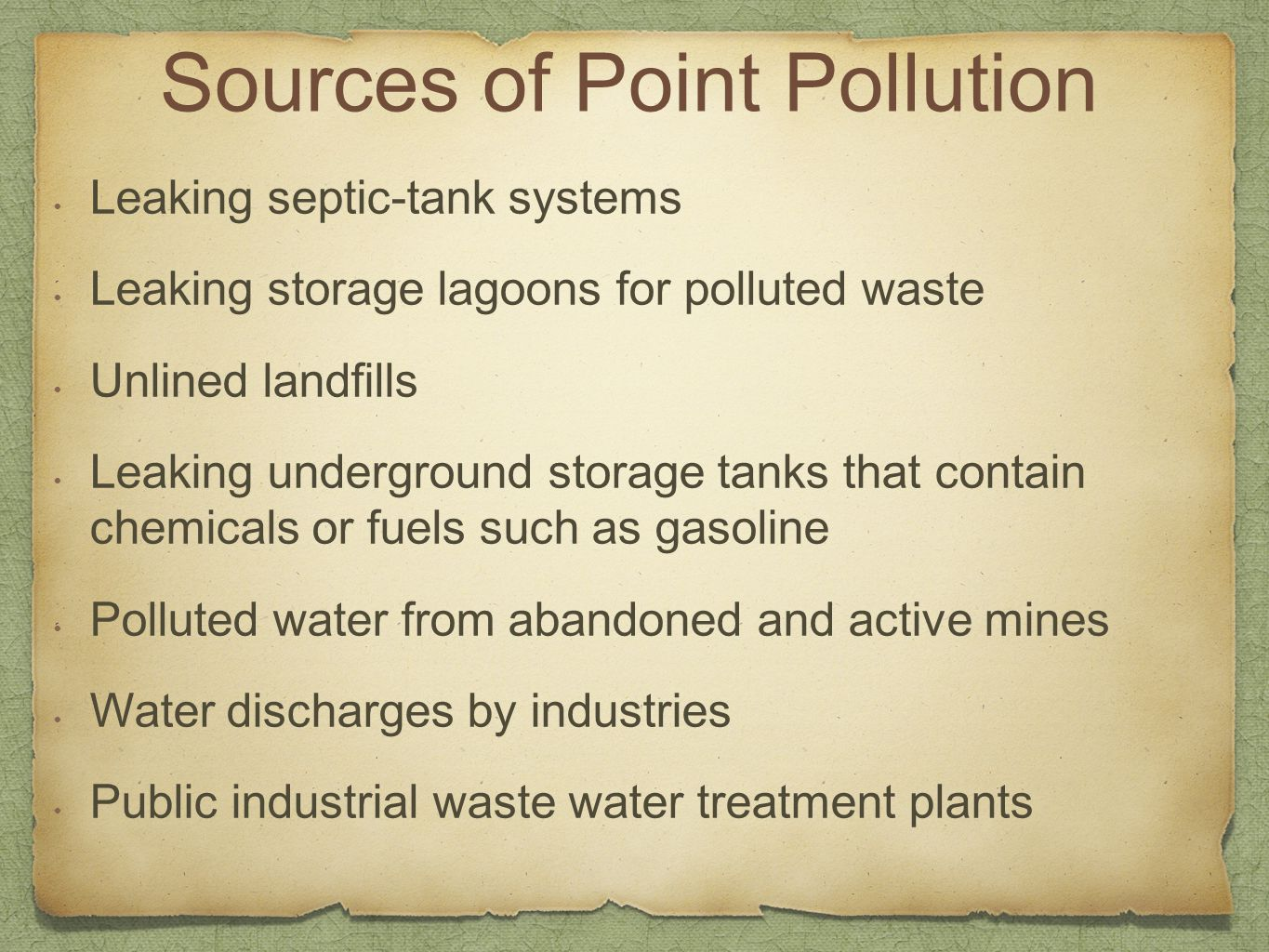 Sources of Point Pollution