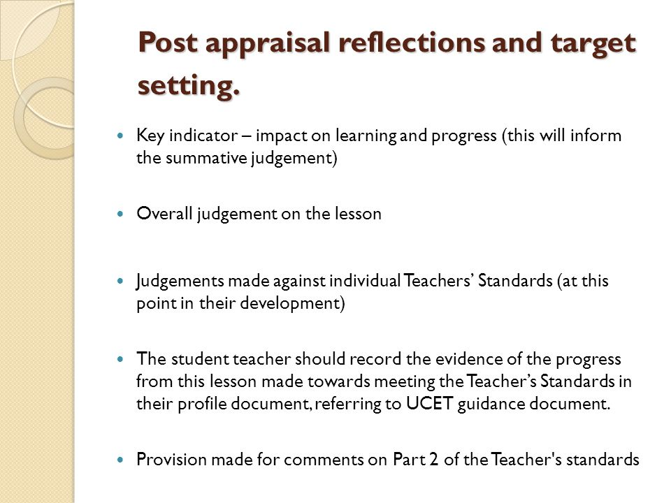 Post appraisal reflections and target setting.