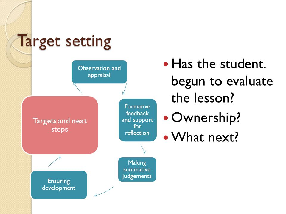 Target setting Has the student. begun to evaluate the lesson