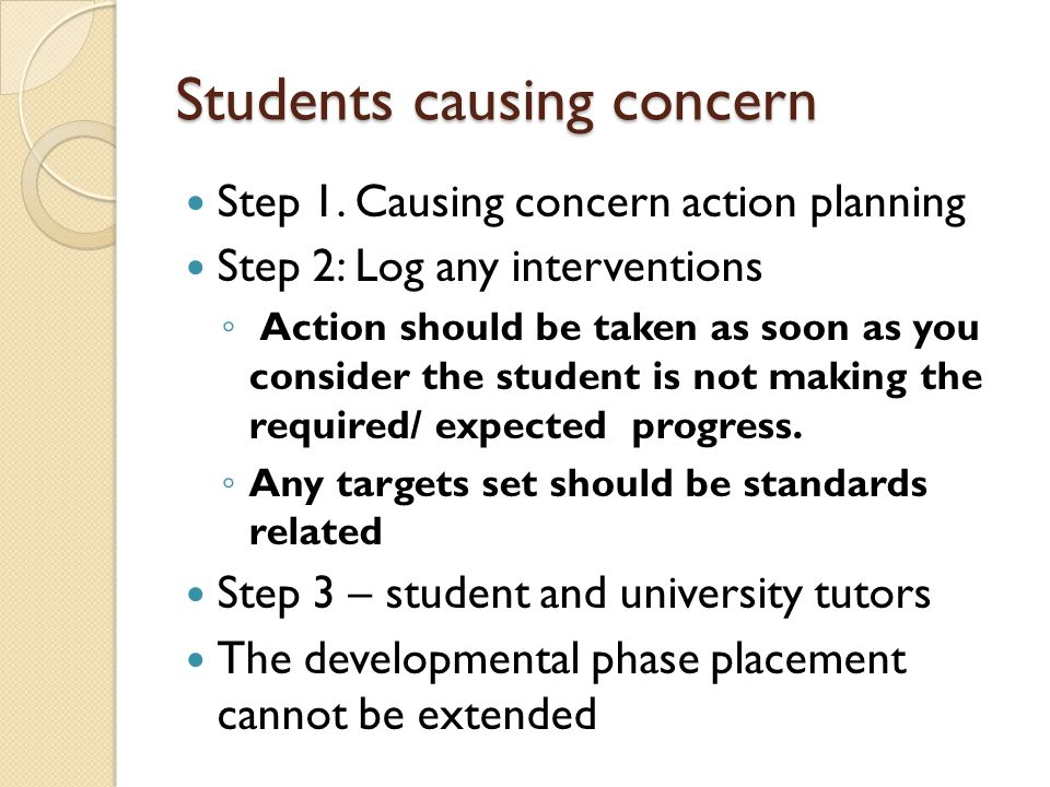 Students causing concern
