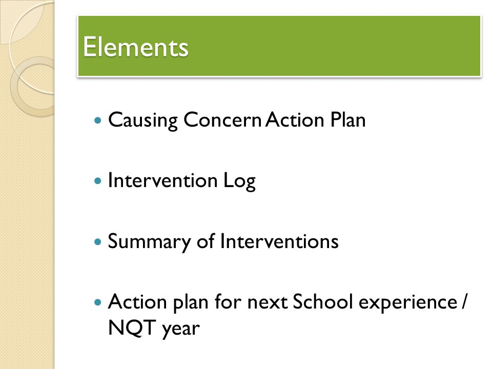 Elements Causing Concern Action Plan Intervention Log