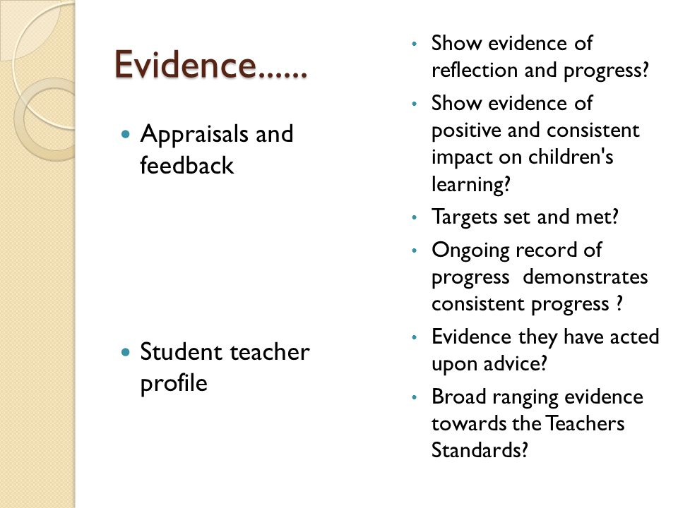 Evidence Appraisals and feedback Student teacher profile