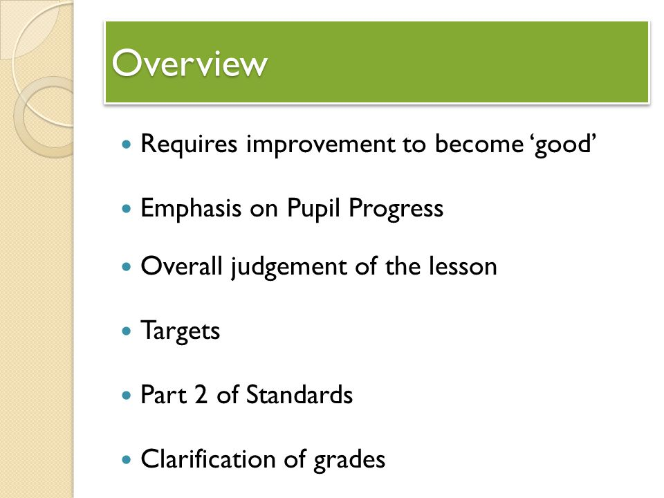 Overview Requires improvement to become 'good'