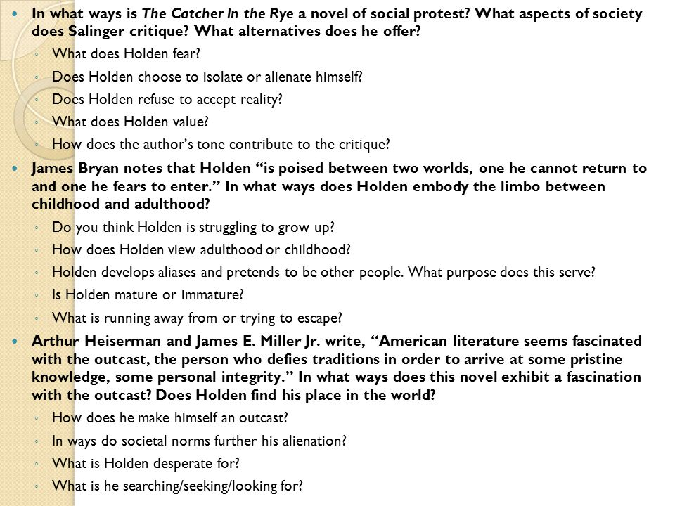 questions and answers the catcher in the rye essay Take these answers as you want, right or wrong i have no idea, i only ask that people from this year use them as a reference and change up the answers rather than copy paste the whole bit the catcher in the rye study questions by morgan gillespie chapter 1 1.