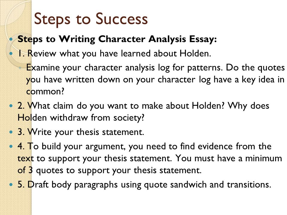 Business Essay Example Steps To Success Steps To Writing Character Analysis Essay Essays Examples English also Essay Health Care Jd Salingers The Catcher In The Rye  Ppt Download Business Plan Writers In Ga