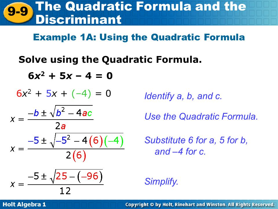 problem solving 9-9 the quadratic formula and the discriminant