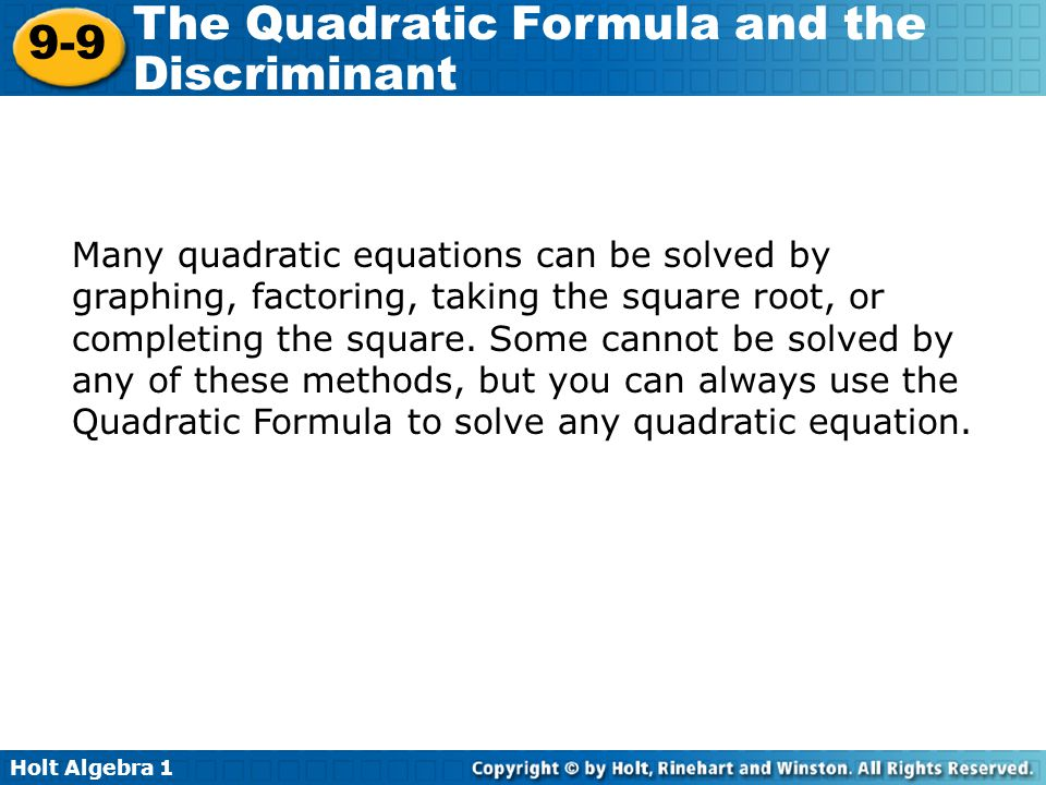 holt algebra 1 lesson 9-9 problem solving the quadratic formula and the discriminant