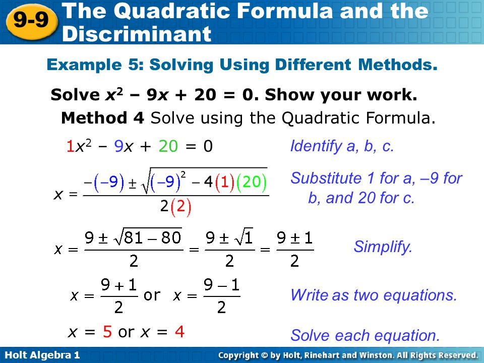 9-9 the quadratic formula and the discriminant problem solving answers