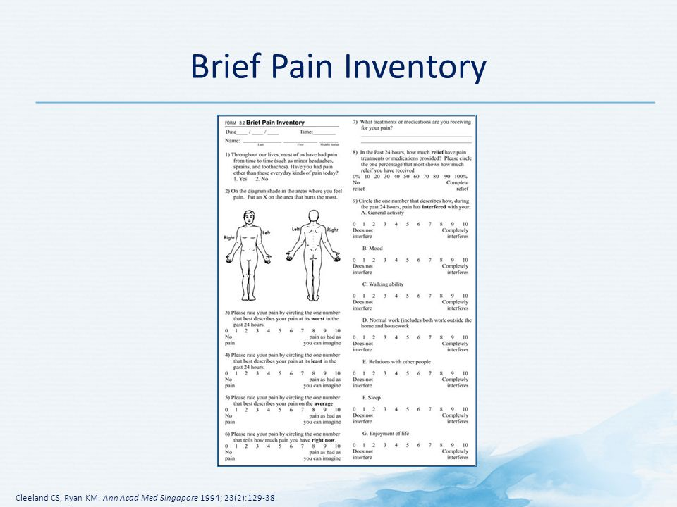 Brief Pain Inventory Speaker s Notes