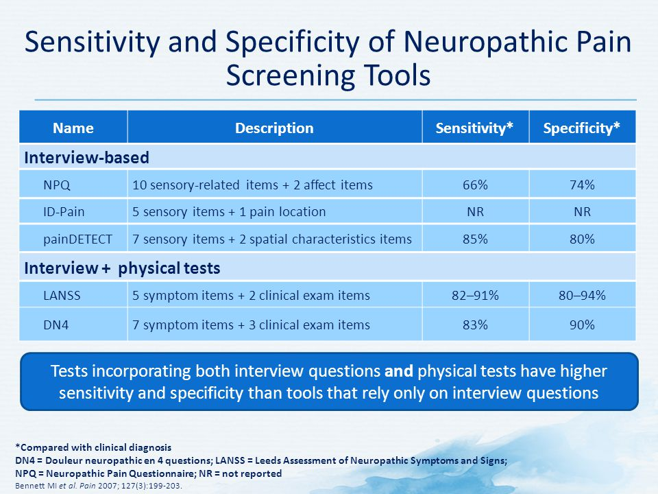 Sensitivity and Specificity of Neuropathic Pain Screening Tools