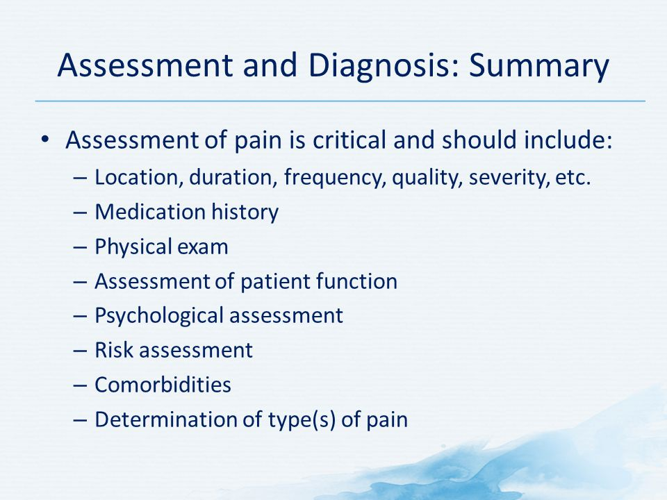 Assessment and Diagnosis: Summary