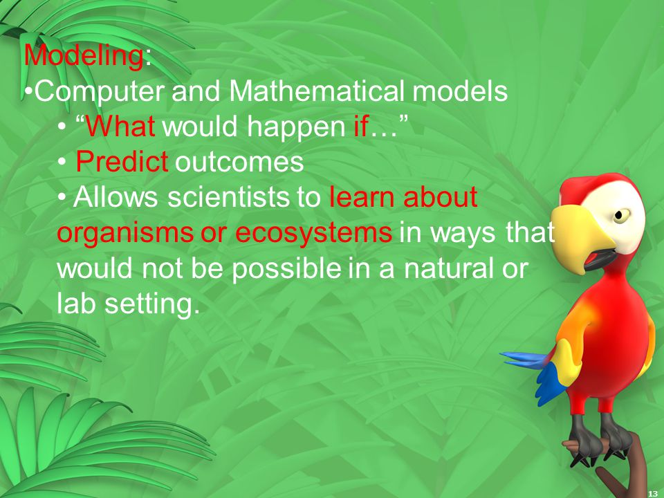 Modeling: Computer and Mathematical models. What would happen if… Predict outcomes.