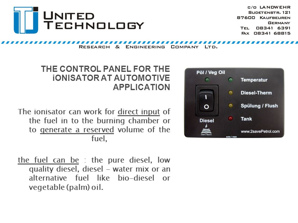 THE CONTROL PANEL FOR THE iONISATOR AT AUTOMOTIVE APPLICATION