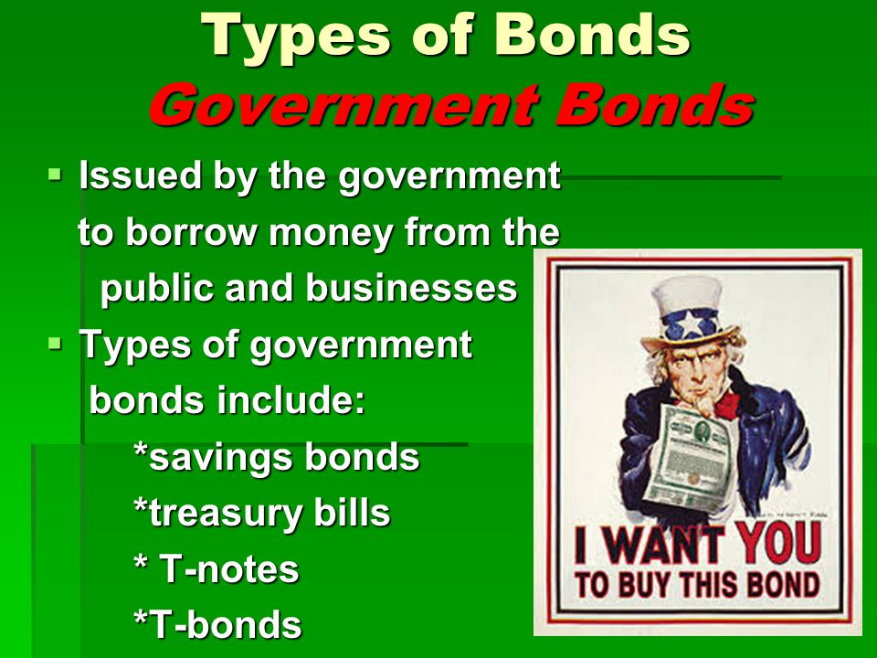 Types of Bonds Government Bonds