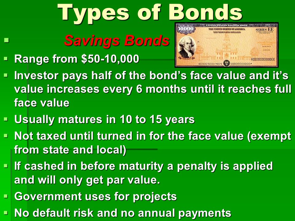 Types of Bonds Savings Bonds Range from $50-10,000