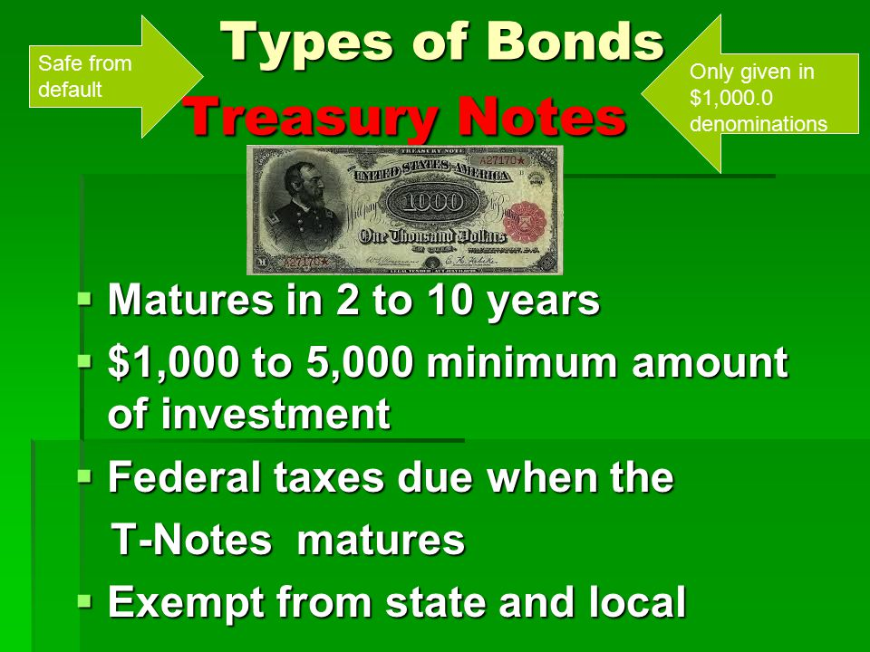 Types of Bonds Treasury Notes