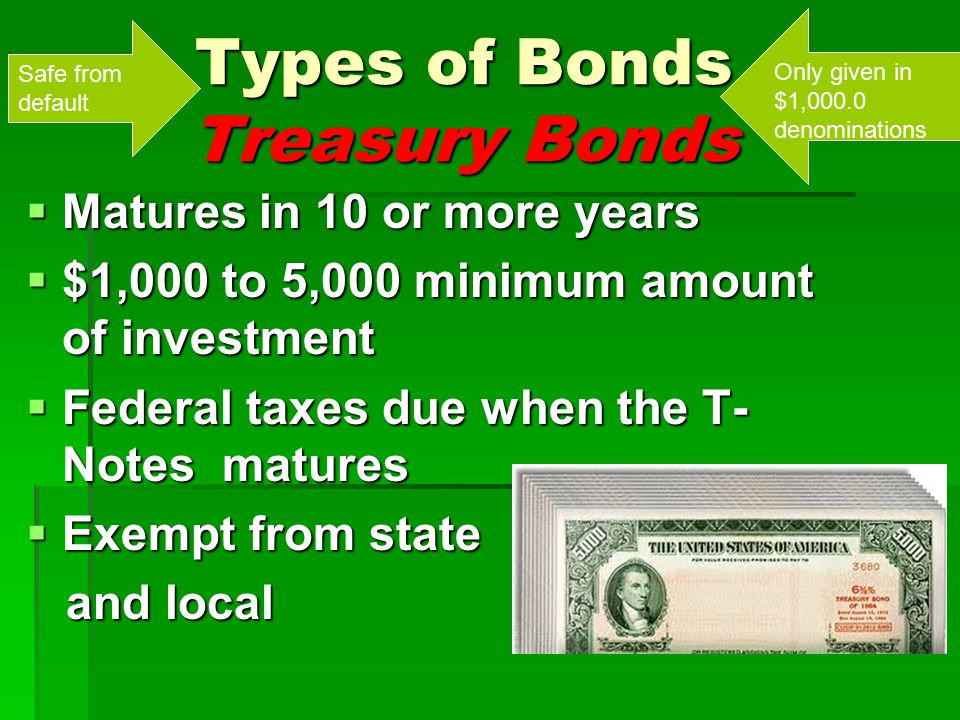 Types of Bonds Treasury Bonds