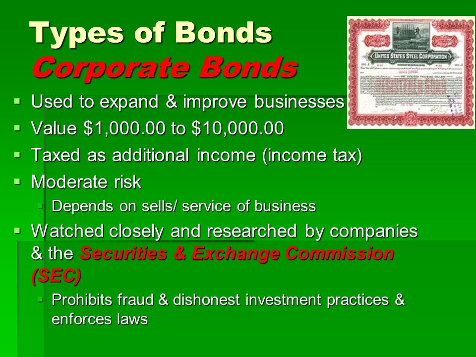 Types of Bonds Corporate Bonds