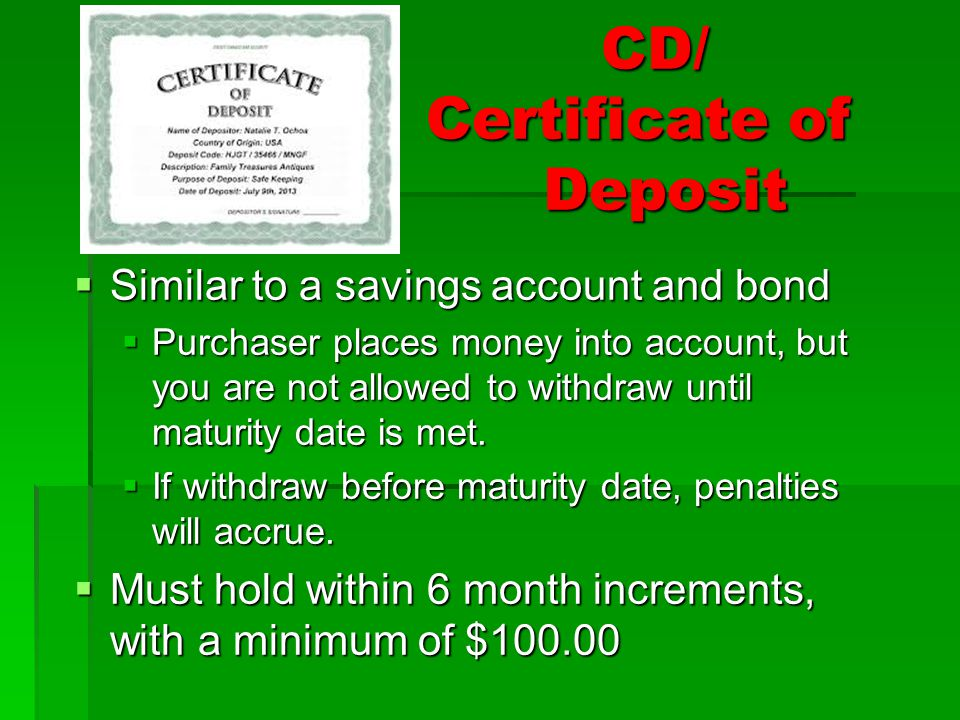 CD/ Certificate of Deposit